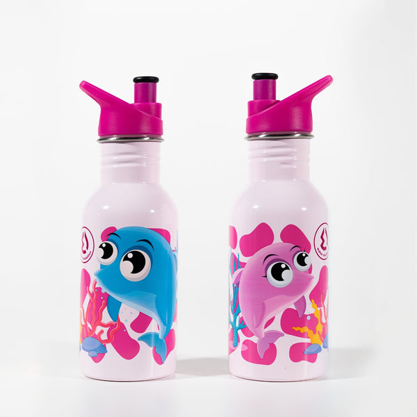 Water Revolution - Botella Infantil de Acero Inoxidable 500 ml. Sport Kids Dolphins