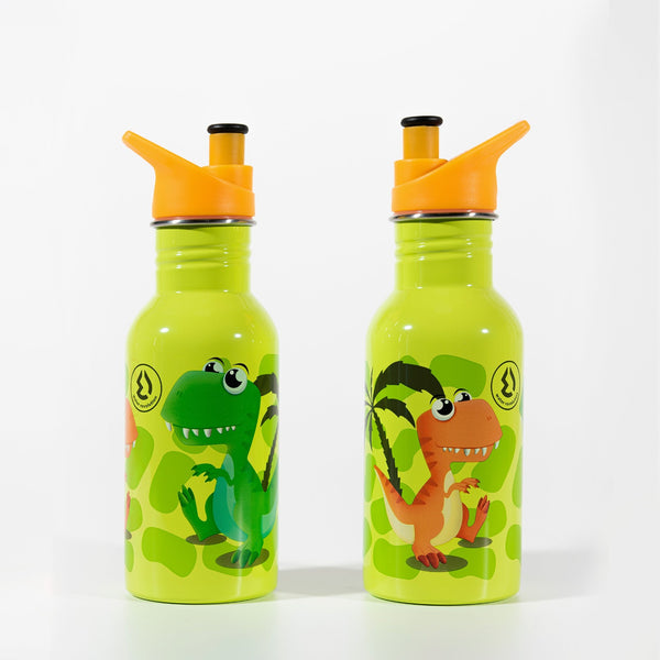 Water Revolution - Botella Infantil de Acero Inoxidable 500 ml. Sport Kids Dinosaurio