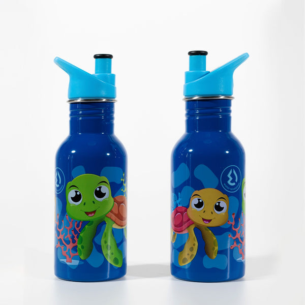 Water Revolution - Botella Infantil de Acero Inoxidable 500 ml. Sport Kids Turtles