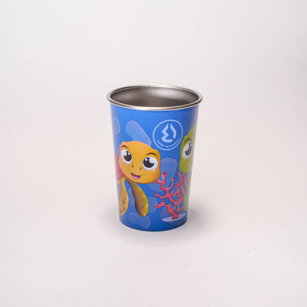 Water Revolution - Vaso de Acero Inoxidable 300 ml. Kids Tortugas