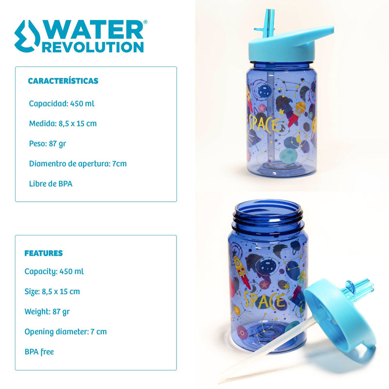 Water Revolution - Botella Infantil de Tritán 450 ml, Kids Gatos