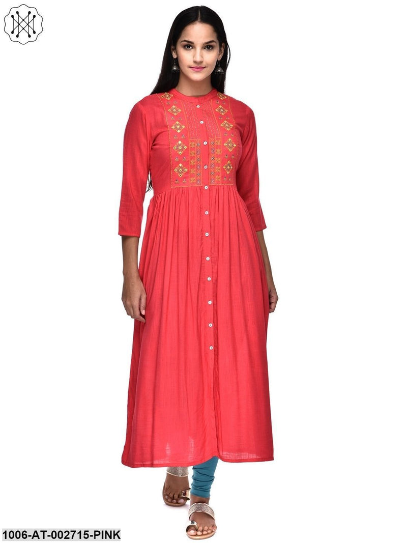 Rayon Embroidered A-Line Kurta