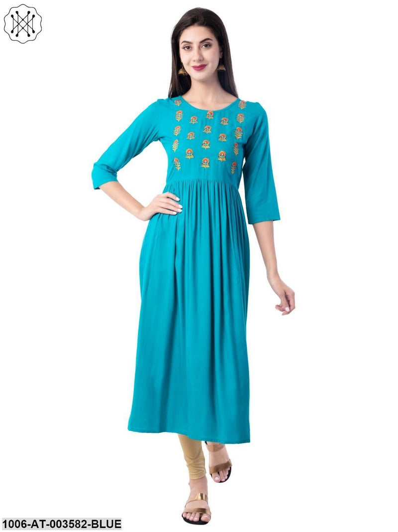 Women's Rayon Embroidered A-Line Kurta