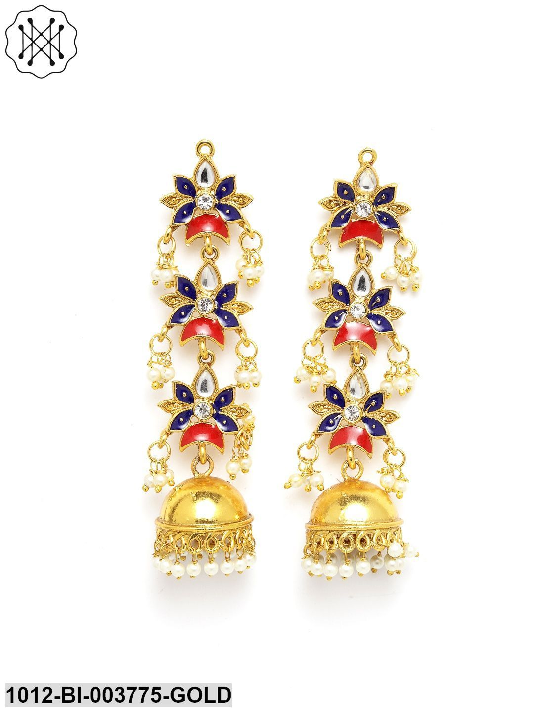 Priyaasi Gold-Plated & Blue Dome Shaped Enamelled Jhumkas