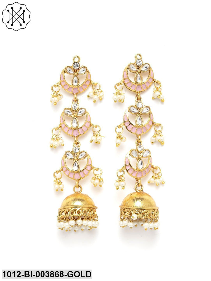 Priyaasi Gold-Plated & Pink Dome Shaped Hand painted Jhumkas