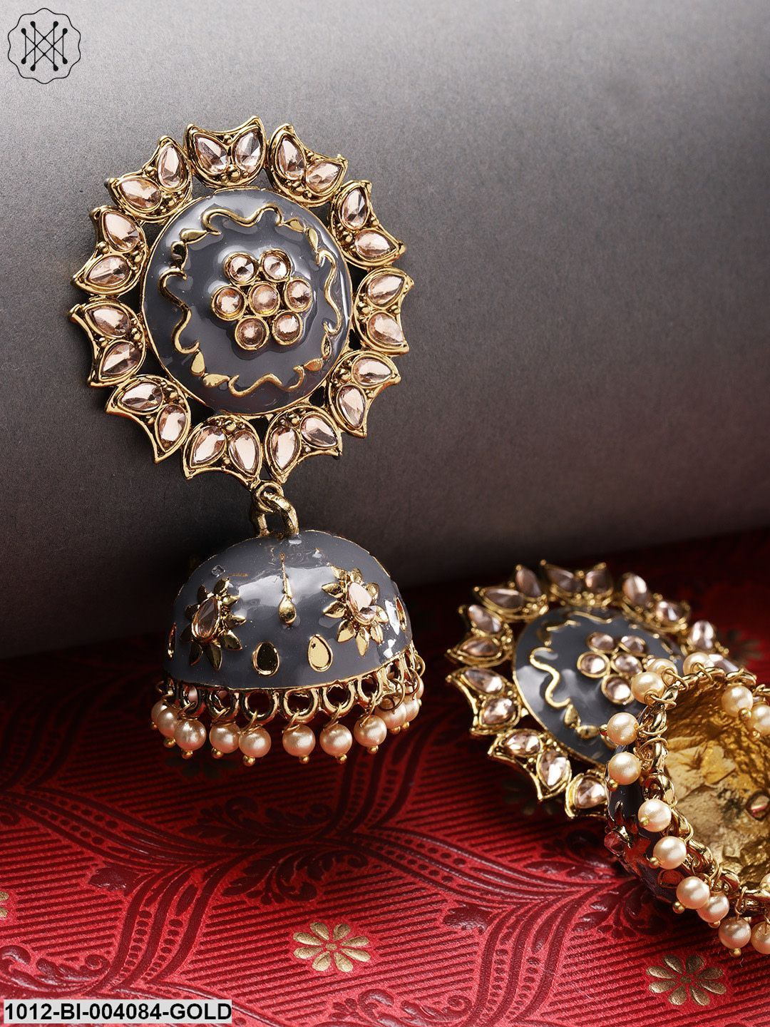 Priyaasi Gold-Plated & Grey Handcrafted Dome Shaped Jhumkas