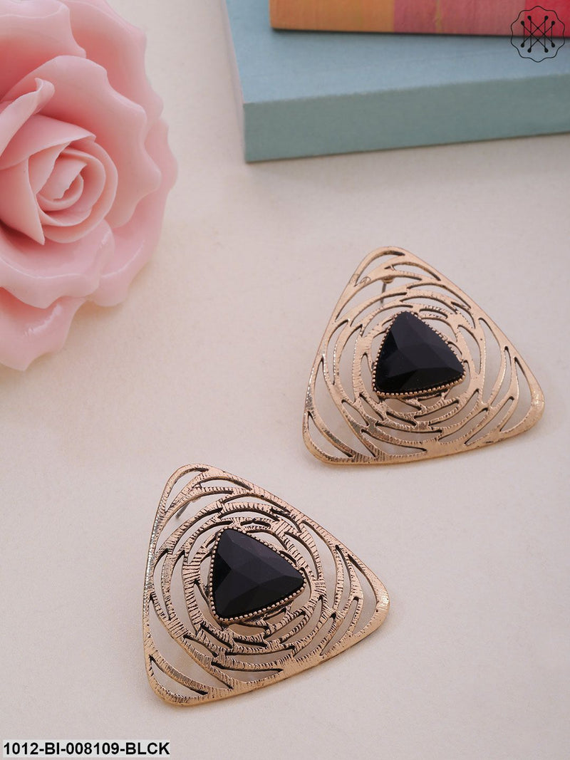 Prita Black Gold-Plated Stone Studded Handcrafted Triangular Drop Earrings