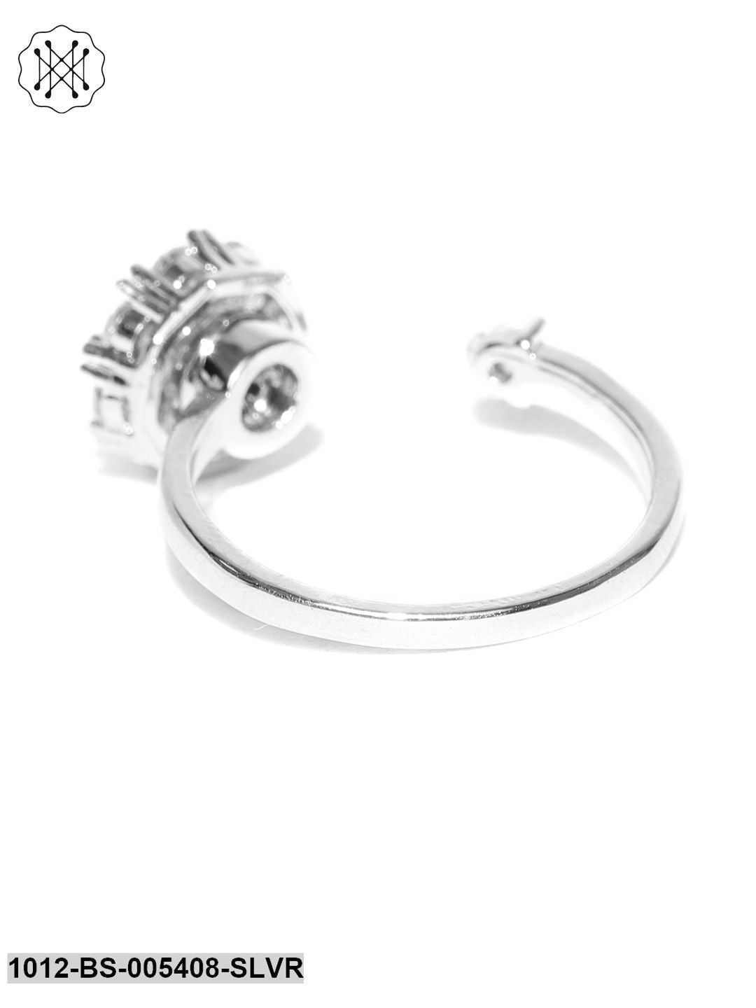 Prita Silver-Plated Stone-Studded Adjustable Ring