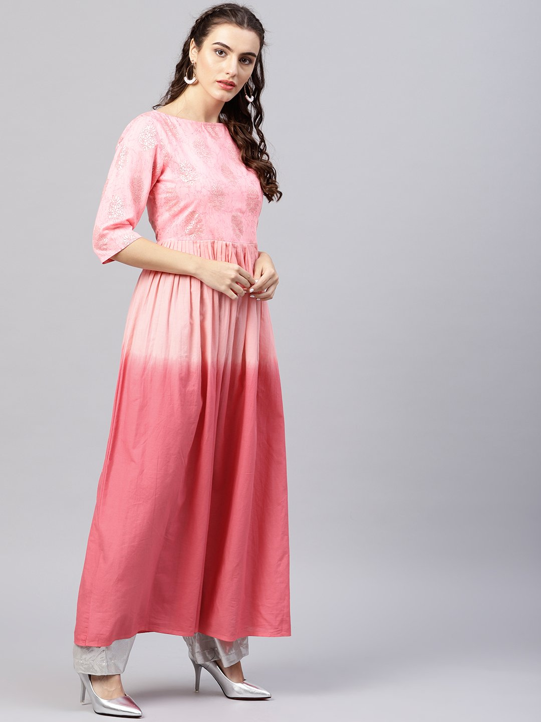 Pink ombre maxi kurta with round neck  and 3/4 sleeves