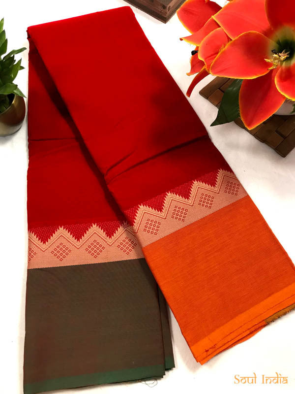 Chettinad Handloom Cotton Saree With Ganga Jamuna Border
