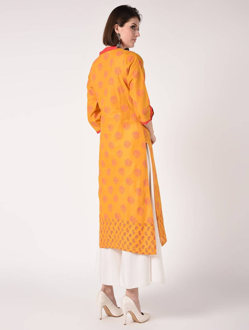 Hand Block print straight Kurta with Palazzo MAAI-038K