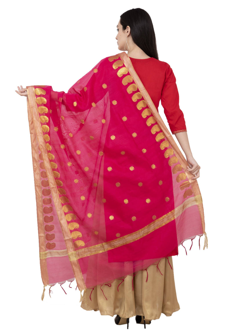A R Silk VNS Ambi Booti Fancy Dupatta Color Rani Dupatta or Chunni