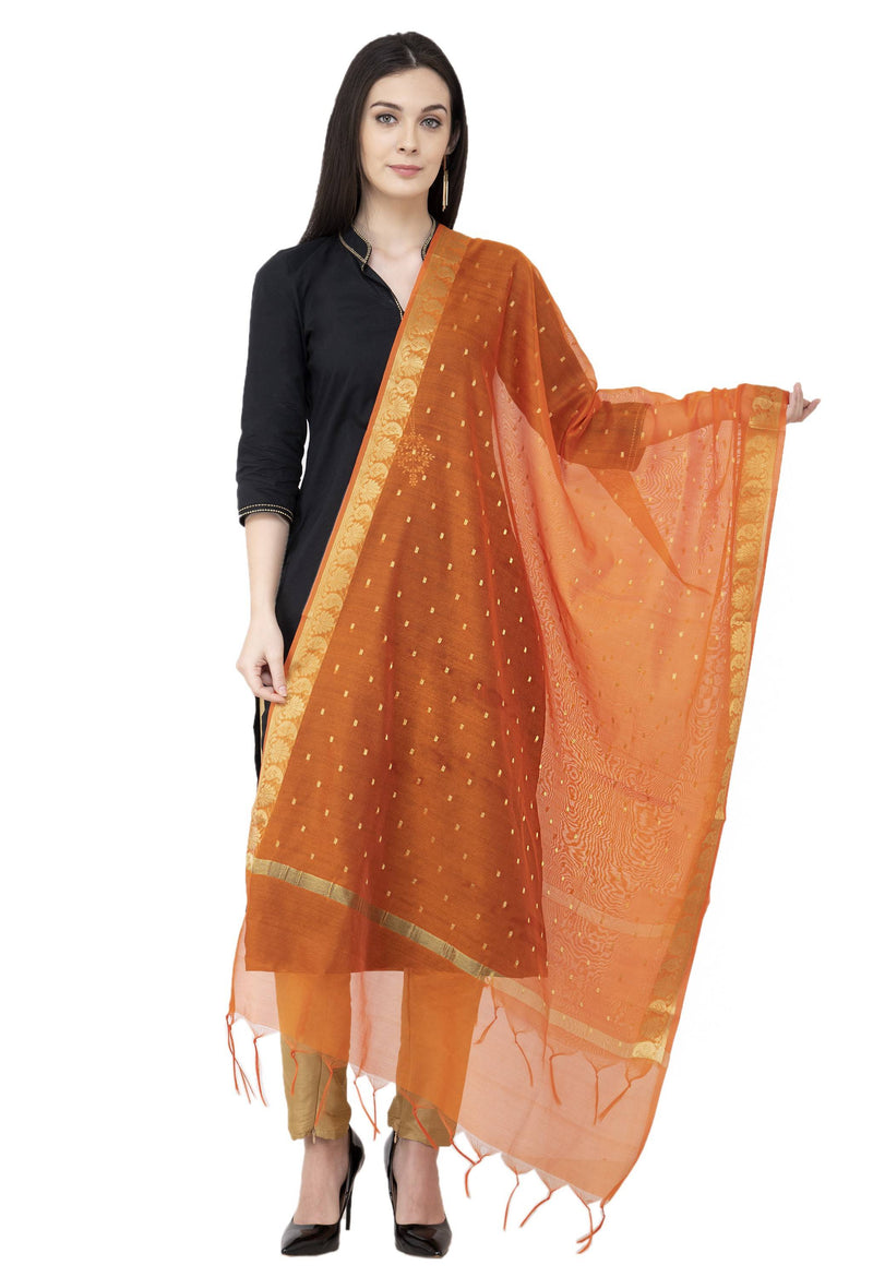 A R SILK VNS Border Buti Fancy Dupatta Orange Color Dupatta or Chunni