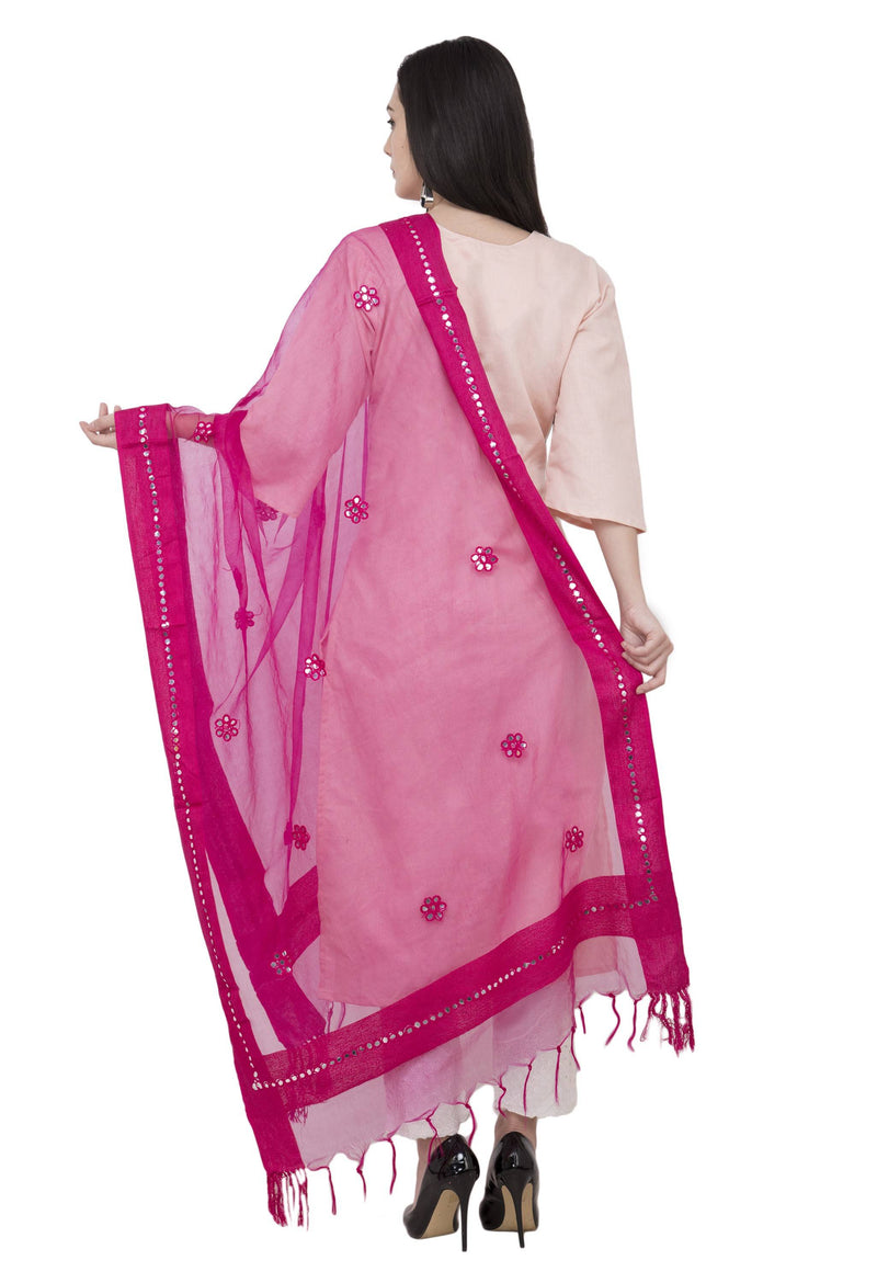 A R Silk Orgenza Flower Mirror Fancy Dupatta Color Rani Dupatta or Chunni