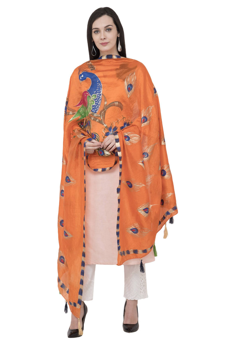 A R Silk Silk Peacock Multi Fancy Dupatta Color Orange Dupatta or Chunni