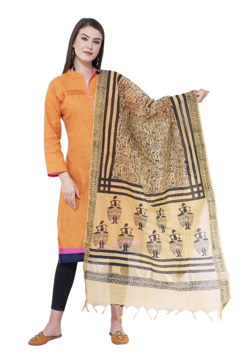 A R Silk Women's Block Print Chanderi Cotton Dark Golden Dupattas and Chunnis