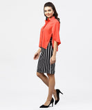 Red cape sleeves formal Shirt set with midi striped skirt
