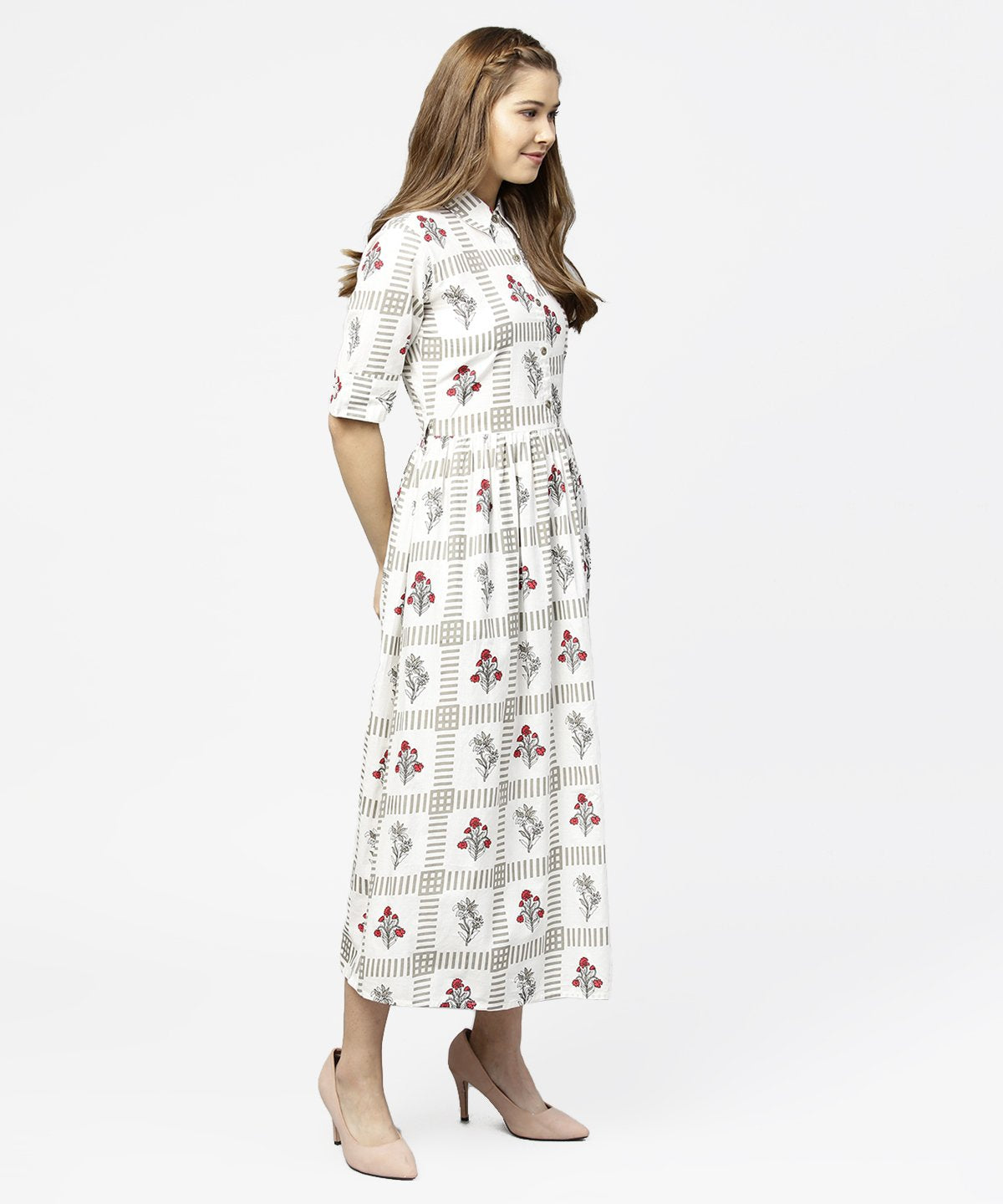 Off white printed half sleeve cotton maxi dress with belt
