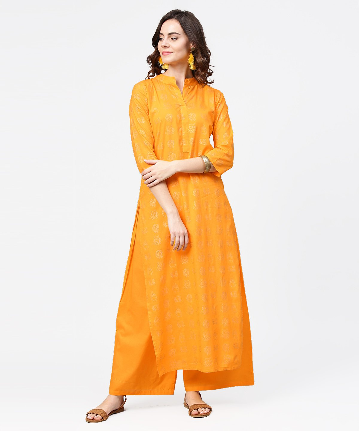 Yellow 3/4th sleeve printed straight kurta with flared ankle length pallazo