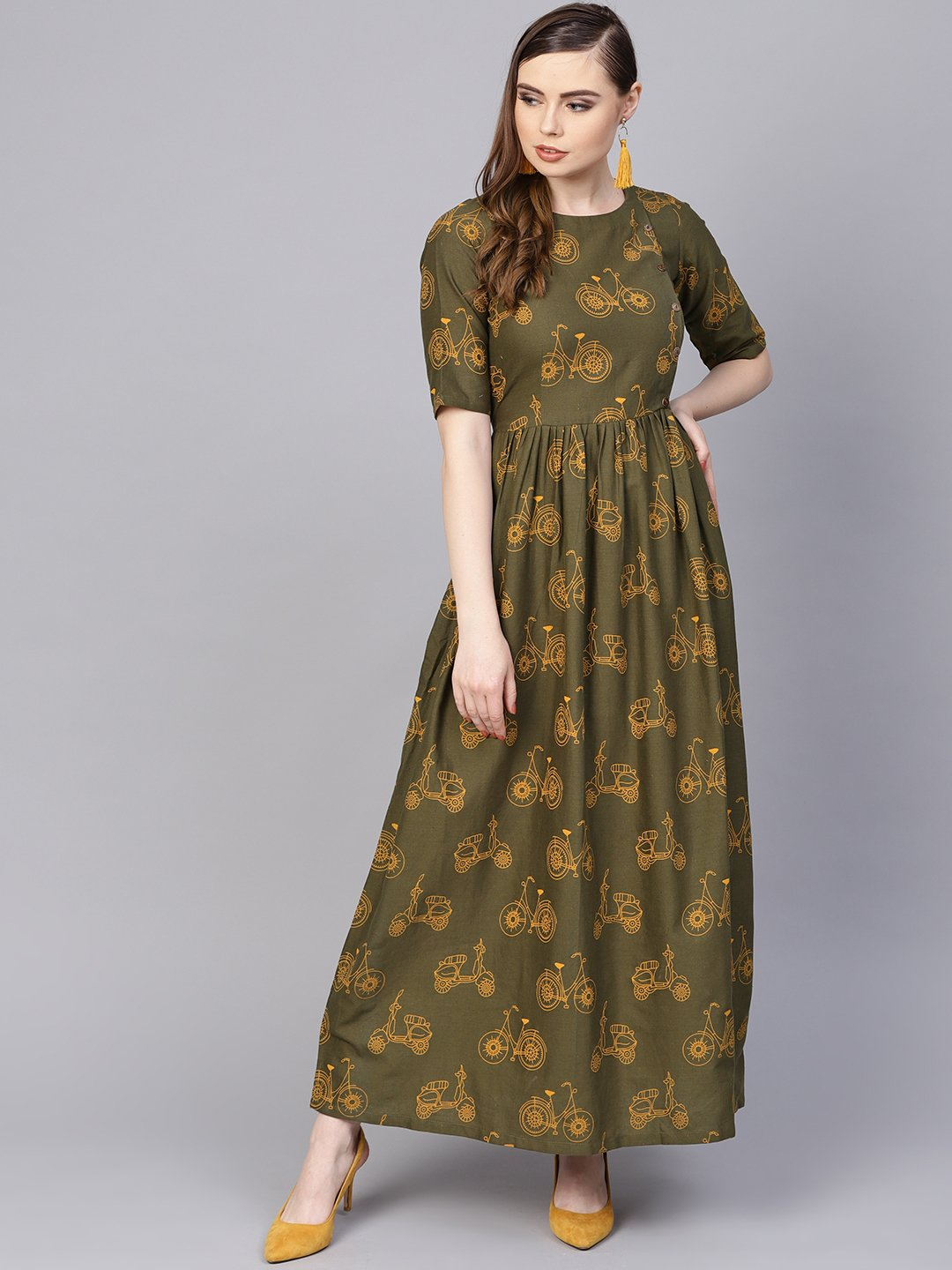 Military Green printed Maxi Dress with Side Shoulder Placket with Half sleeves