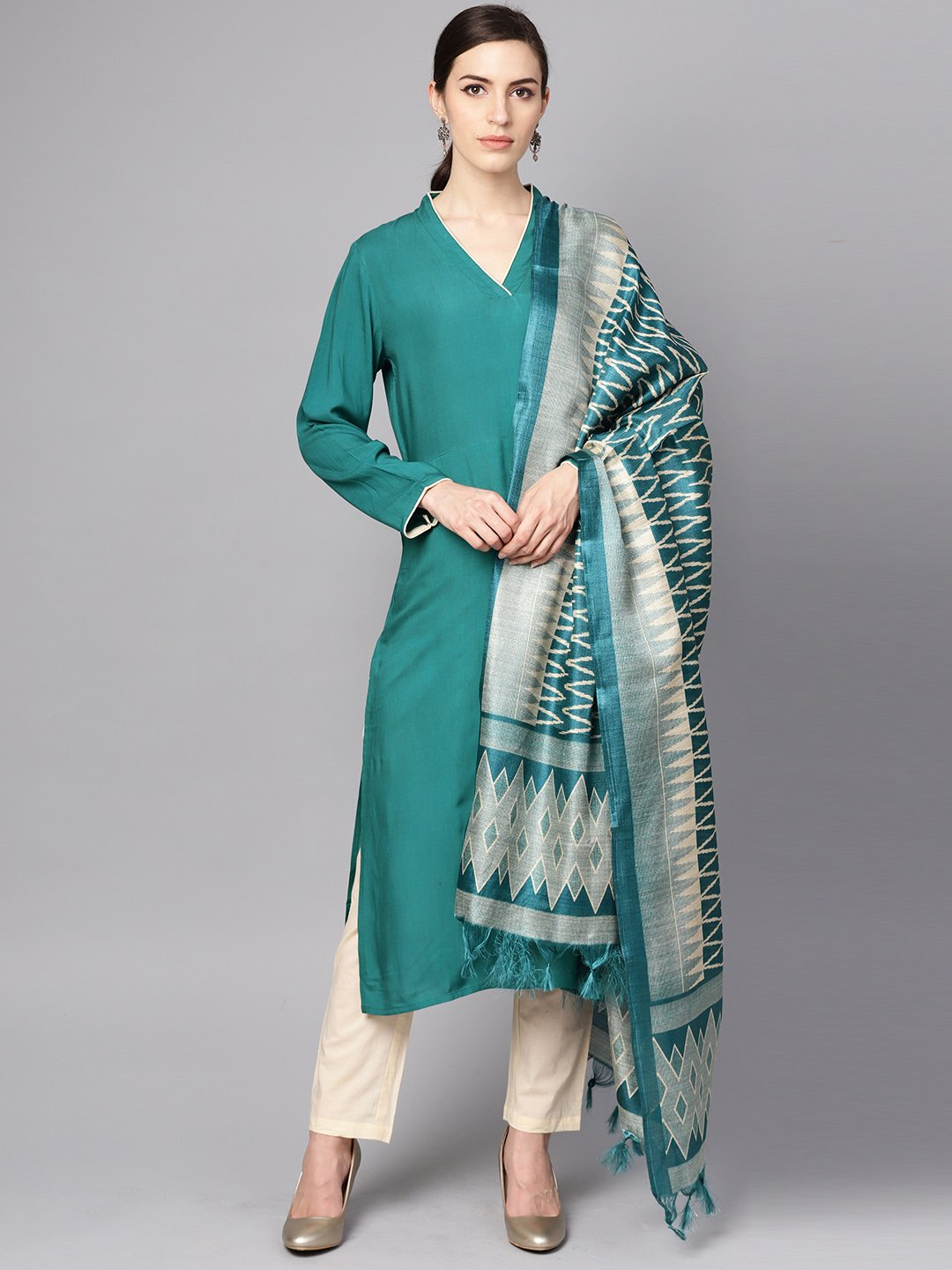 Teal blue 3/4th sleeve cotton kurta with Beige palazzo and printed dupatta