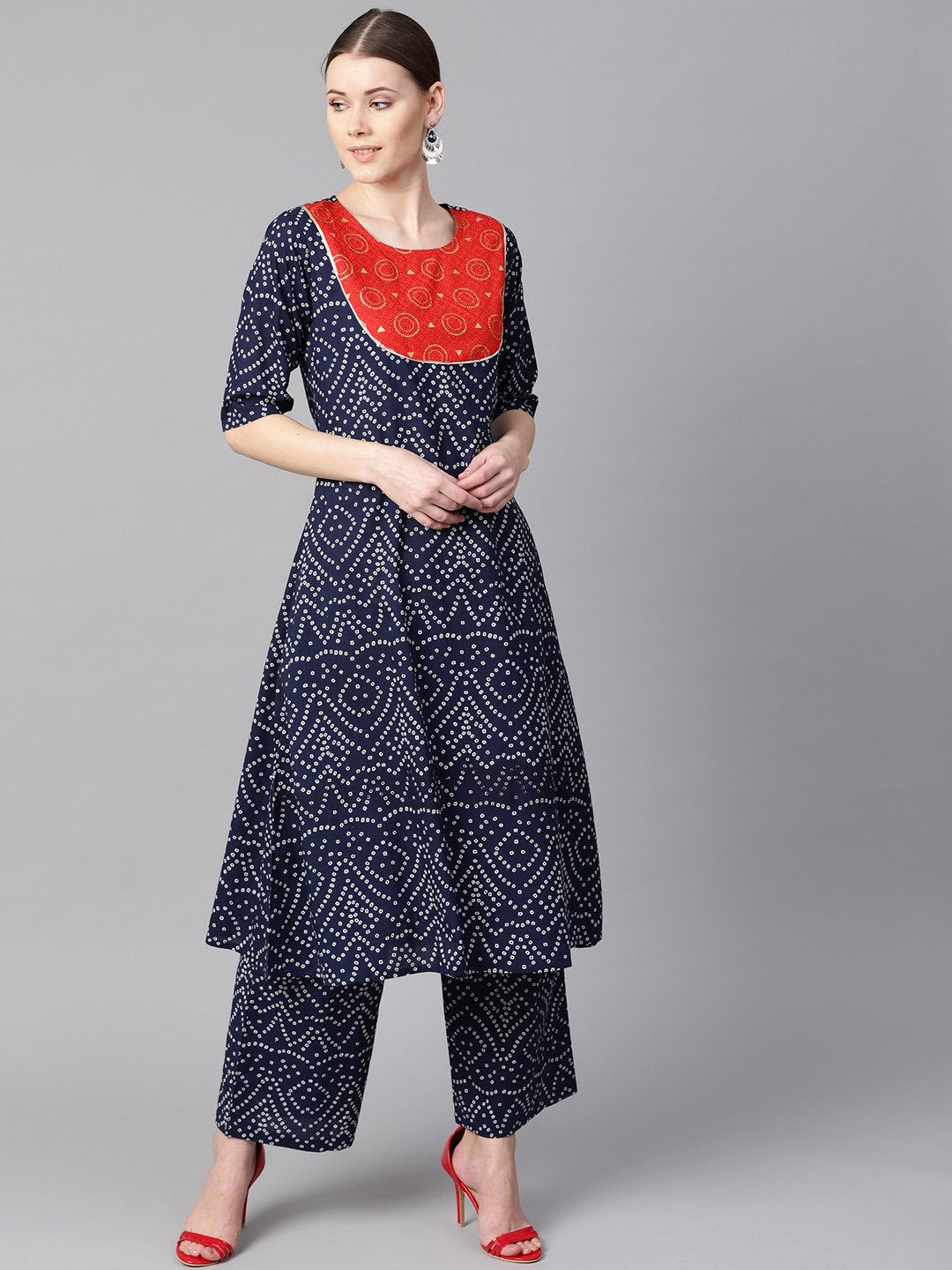 Navy blue half sleeve Bandhni print Kurta with Front printed yoke