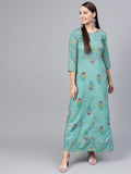 Green Multi colored printed Maxi dress with Round neck & 3/4 sleeves