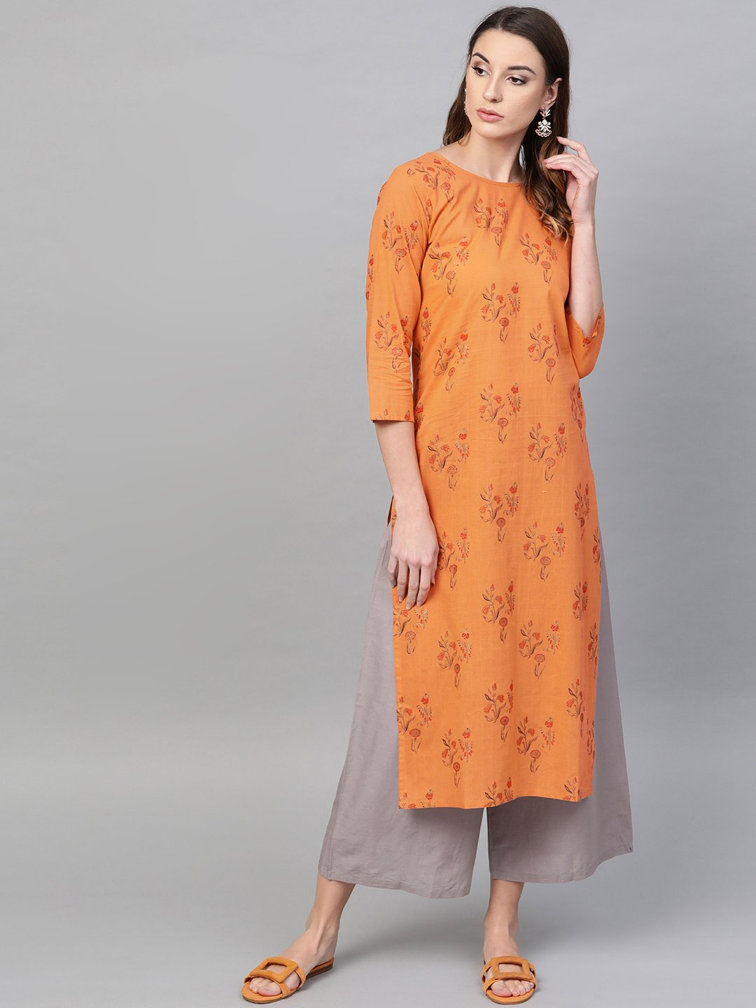 Orange & grey Printed Straight Kurta set with Pants
