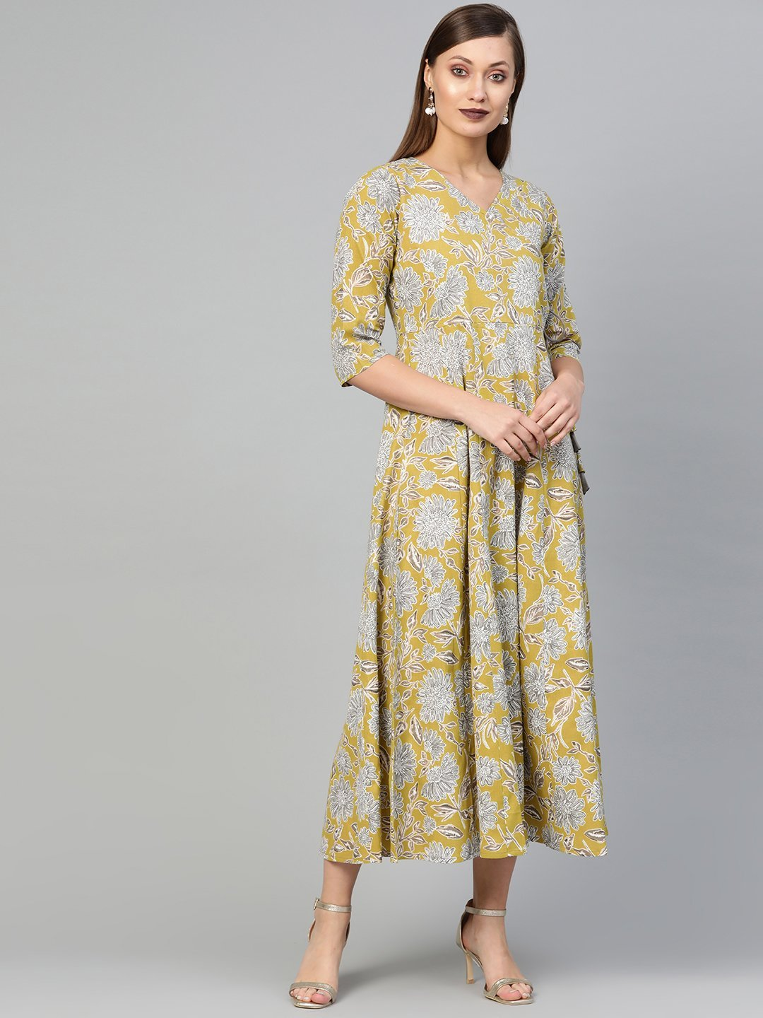 AASI - HOUSE OF NAYO Women Lime Green & Gold Floral Maxi Dress