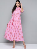 AASI - HOUSE OF NAYO Women Pink & Orange Floral Maxi Dress