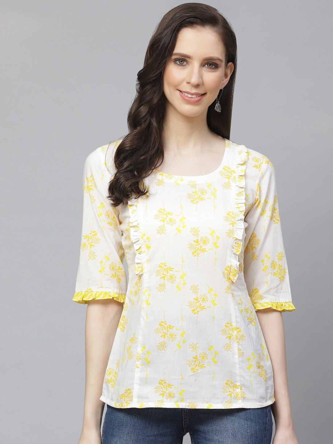 AASI - HOUSE OF NAYO Women White & Yellow Regular Floral Printed Round Neck Top