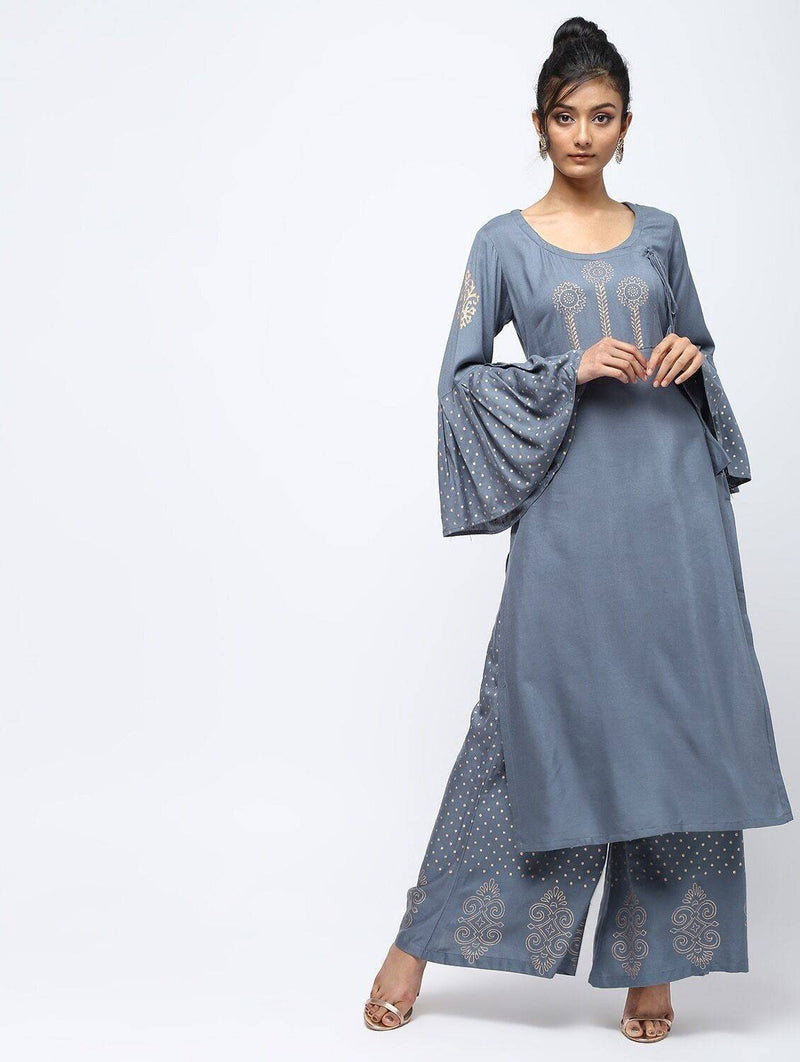 Straight Kurta With Bell Sleeve Design CH033K (Without Palazzo)