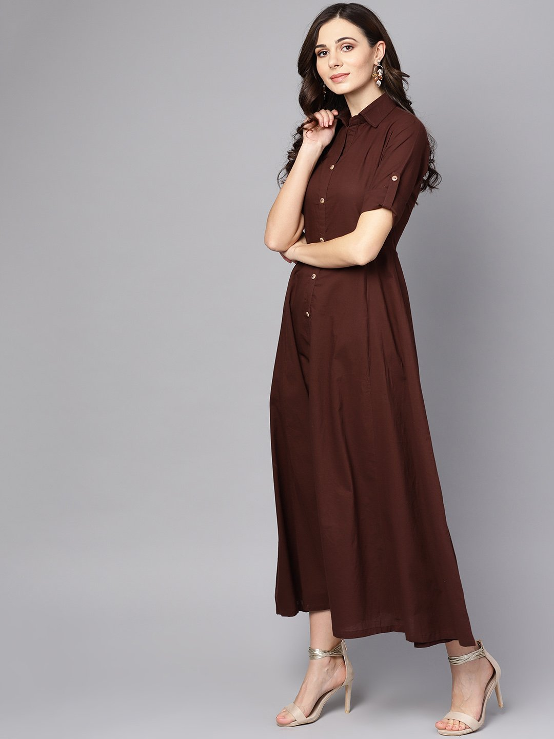 Solid Chocolate Brown Maxi Dress with Shirt Collar & 3/4 sleeves
