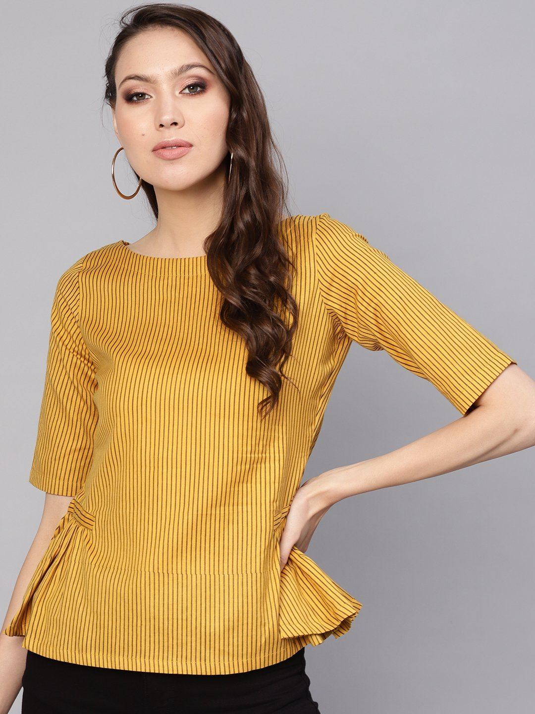 Women Mustard Yellow & Brown Striped A-Line Top