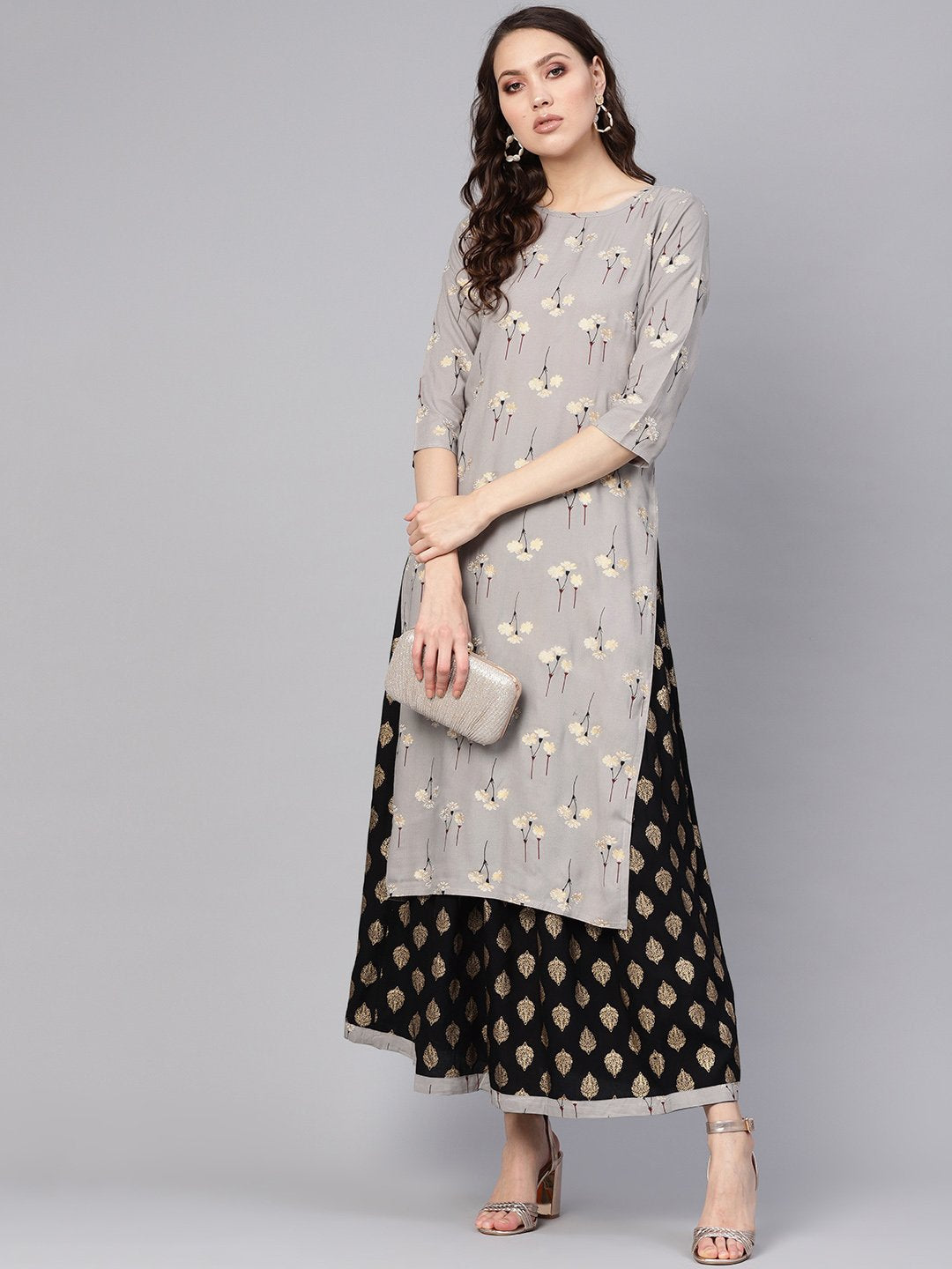 Women Charcoal Grey & Black Printed Kurta with Skirt