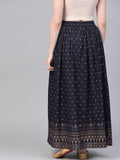Navy Blue Gold printed ankle length flared skirt