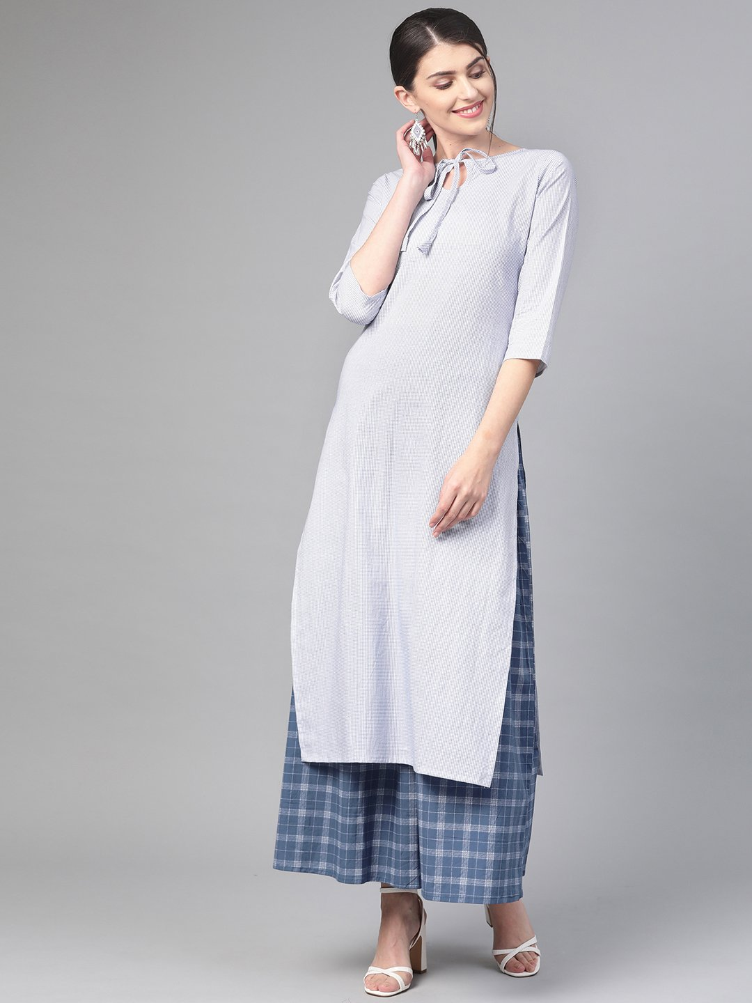 Nayo Women White & Blue Straight Geometric Printed Kurta And Skirt Set