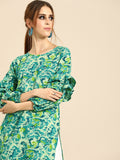 Nayo Women Green Calf Length Long Sleeves Straight Floral Printed Cotton Kurta