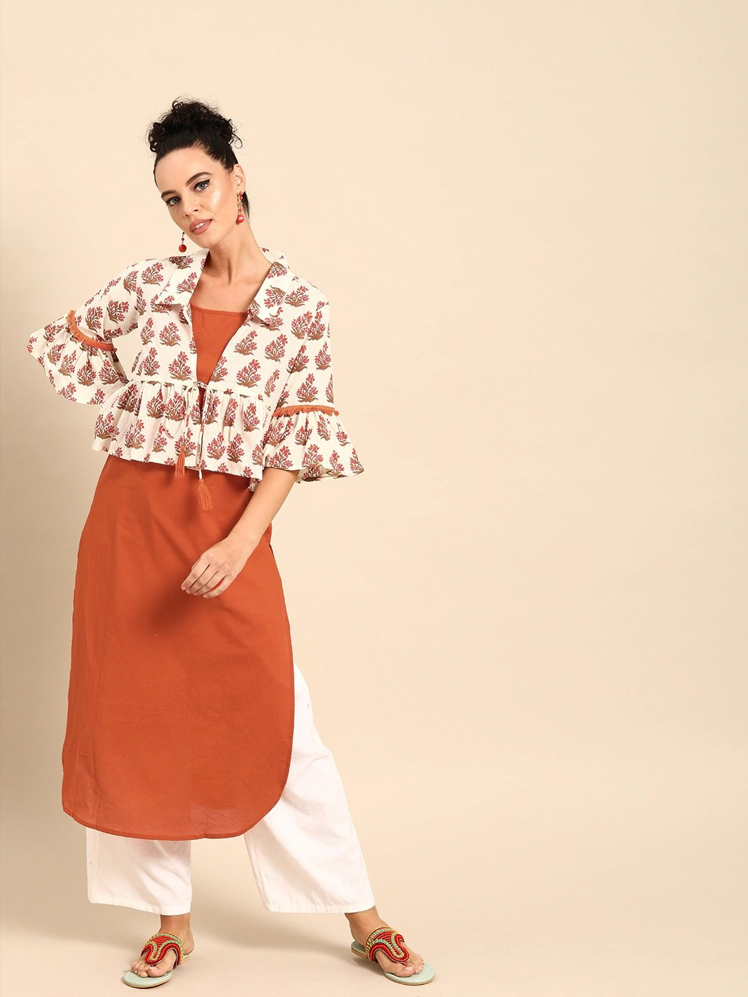 Women Rust Orange  Calf Length Three-Quarter Sleeves Straight Floral Printed Cotton Kurta With Jacket