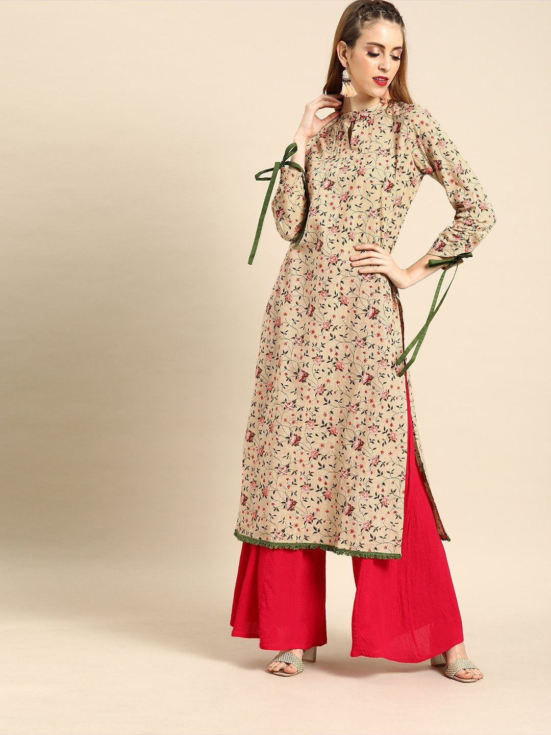 Women Beige Calf Length Long Sleeves Straight Floral Printed Cotton Kurta