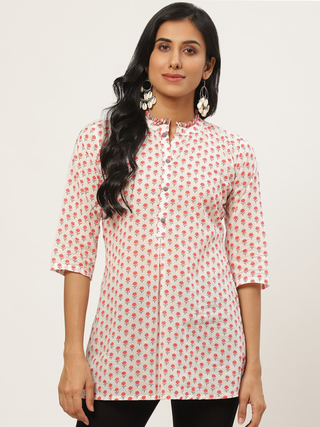 Women white floral print tunic