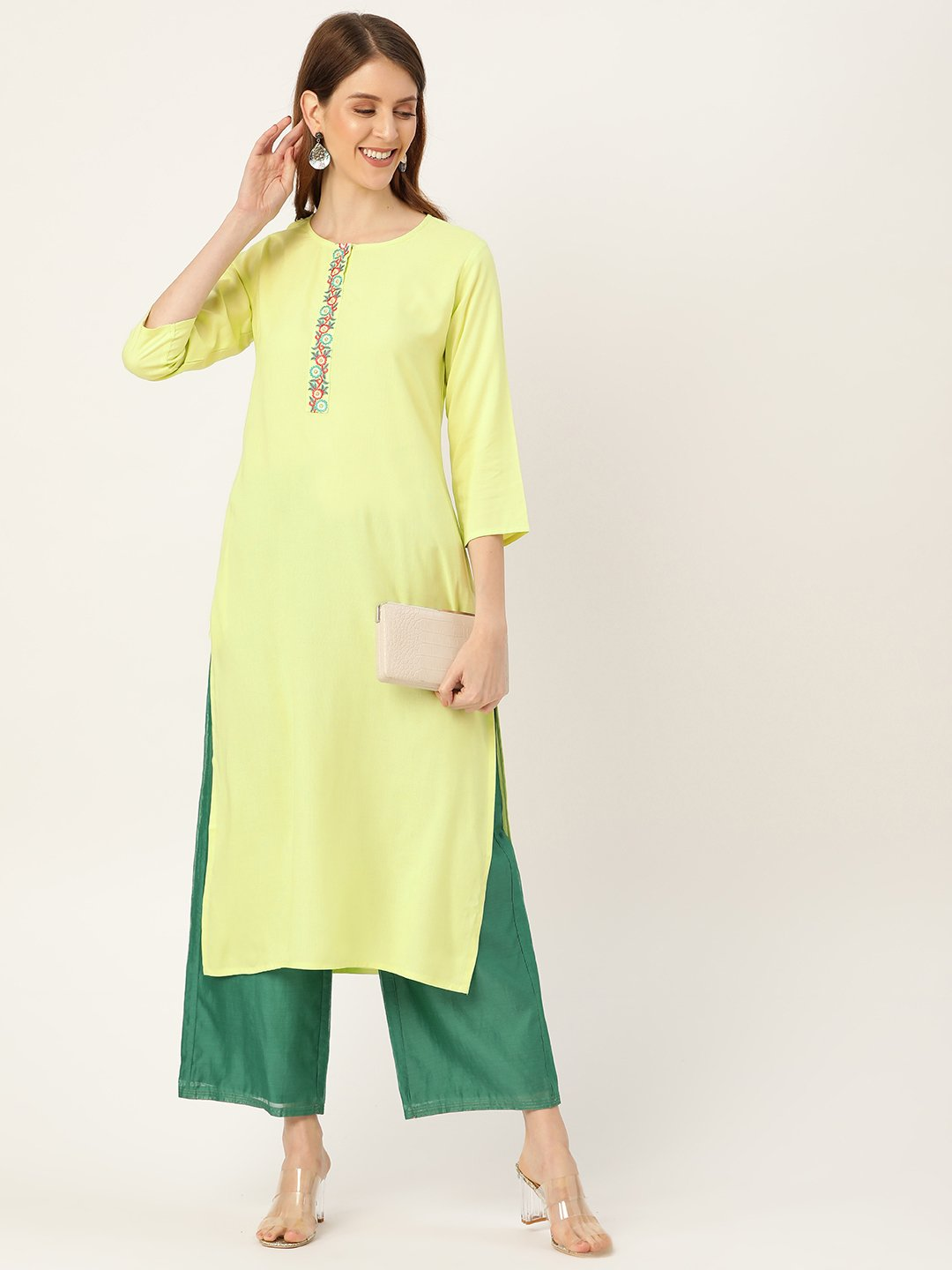 Women Limeyellow Calf Length Three-Quarter Sleeves Straight Solid Yoke Design Viscose Rayon Kurta