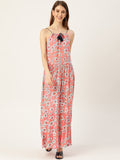 Women Peach Conversational Printed Halter Neck Viscose Rayon A-Line Dress