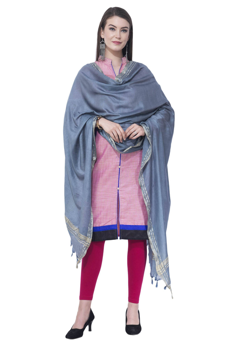 A R SILK Gray Color Golden border Cotton Dupattas and Chunnis