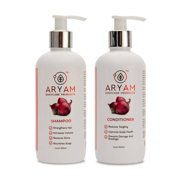 SHAMPOO & CONDITIONER COMBO- RED ONION (300 ML EACH) - AryamBodycare