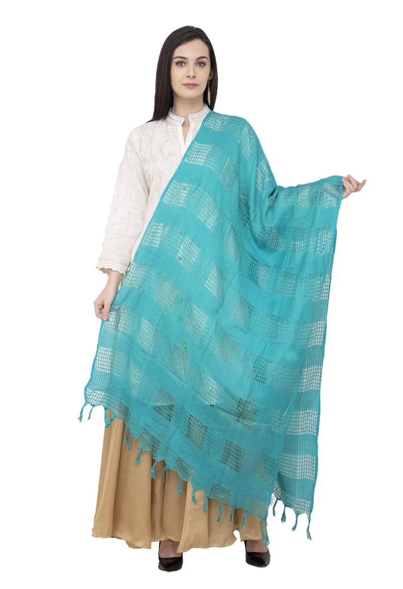 A R SILK Window Square Regular Dupatta Rama Green Color Dupatta or Chunni