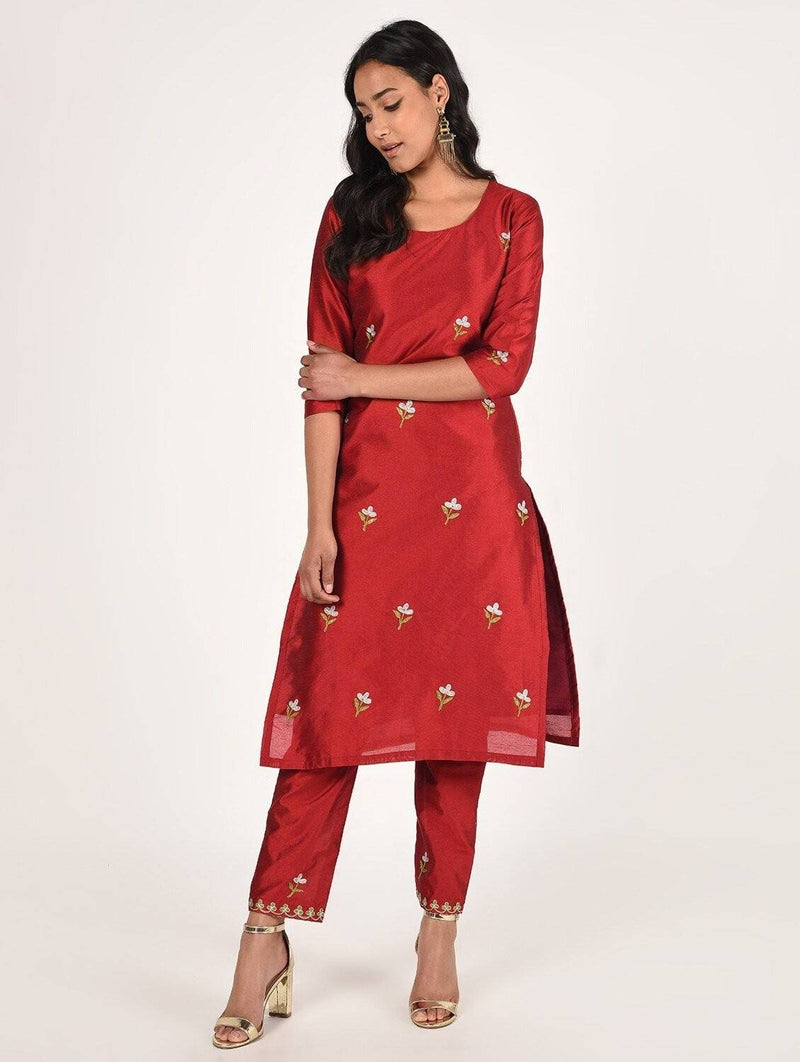 Hand Embroidered Straight Silk Kurta (WITHOUT PANT) CH070K