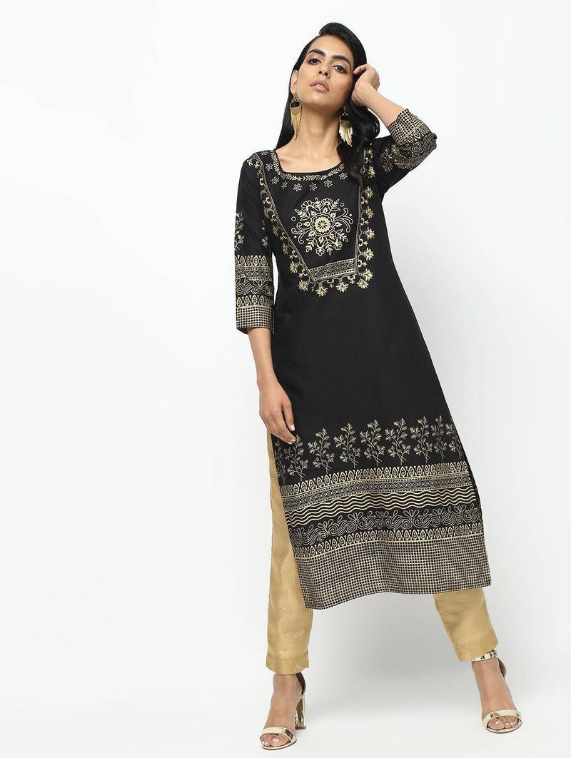 Black Straight Foil Printed Long Kurta