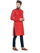 Men Red Solid Straight Kurta - Jompers