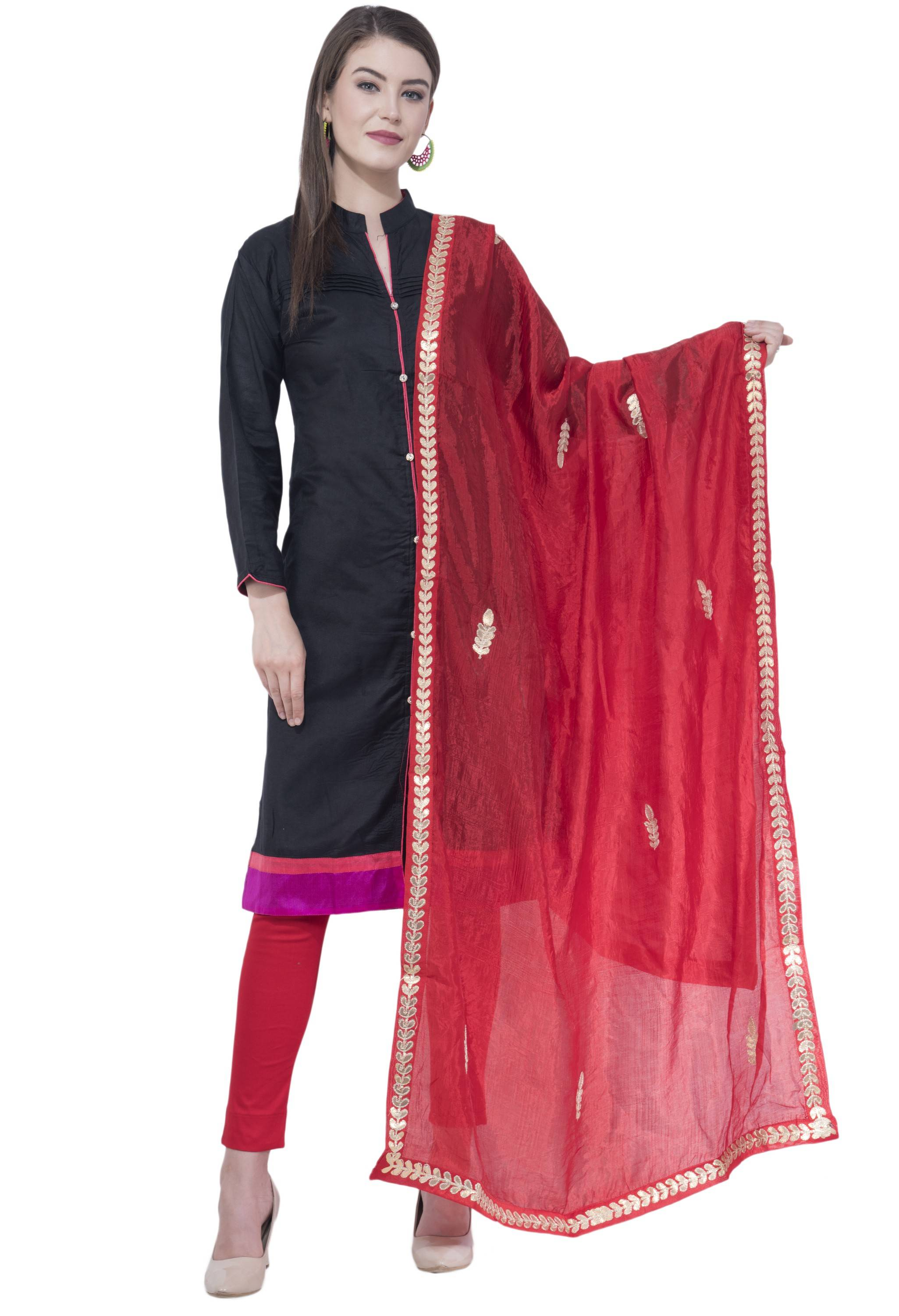 A R SILK Red Color Fancy Silk Dupattas and Chunnis